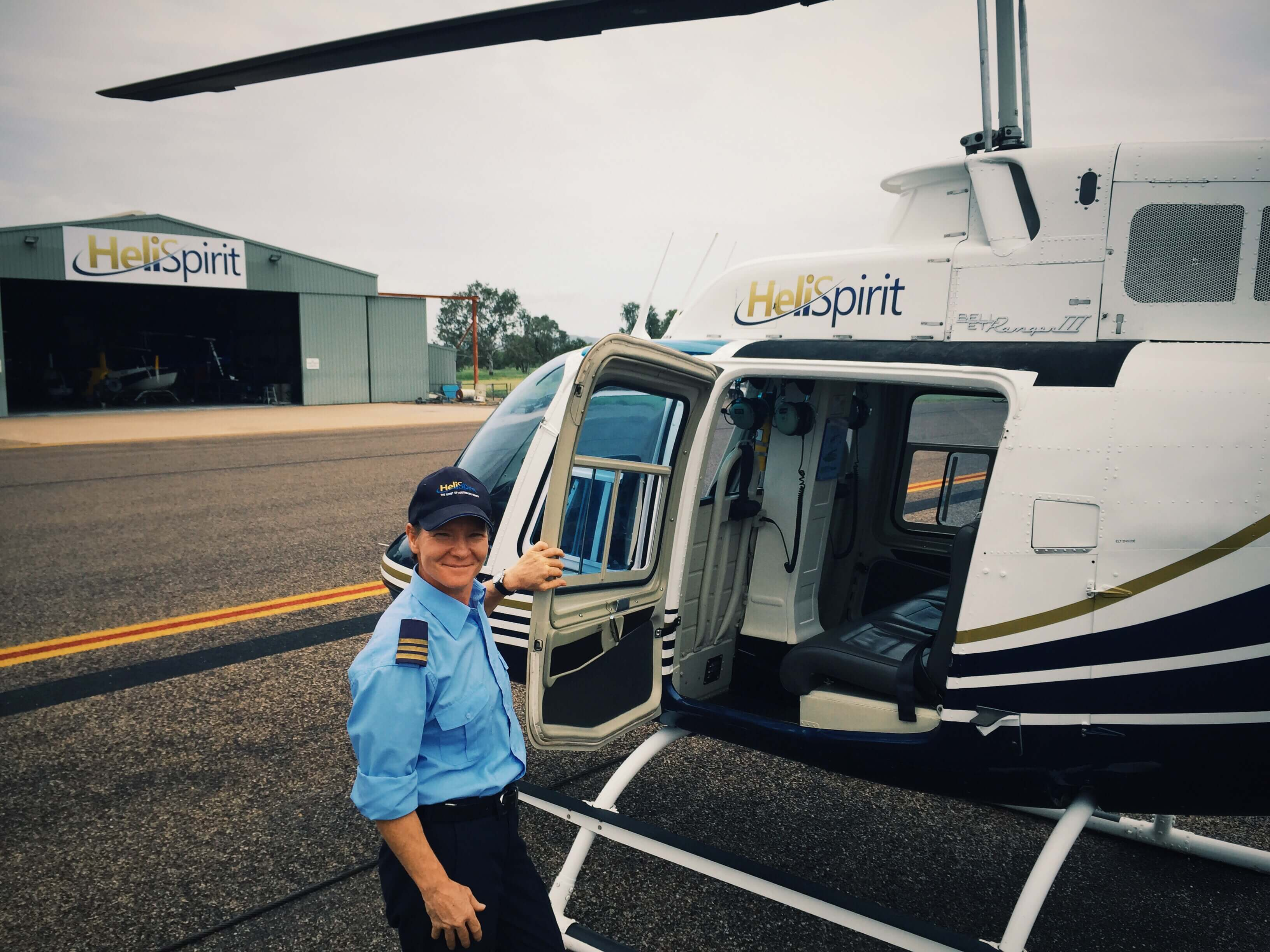 HeliSpirit Hangar, pilot and B206