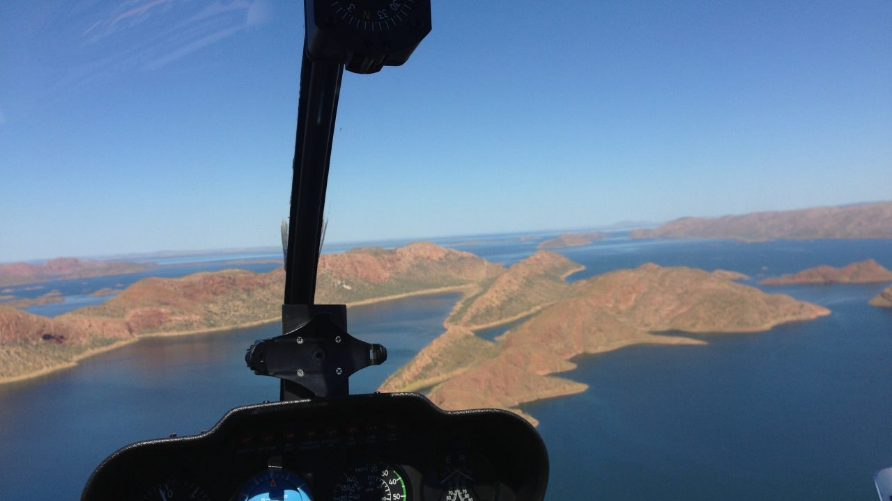 Flying towards the heads at Lake Argyle 3