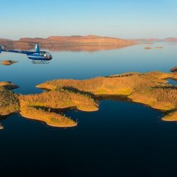 HeliSpirit over the islands of Lake Argyle