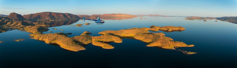 HeliSpirit over the islands of Lake Argyle