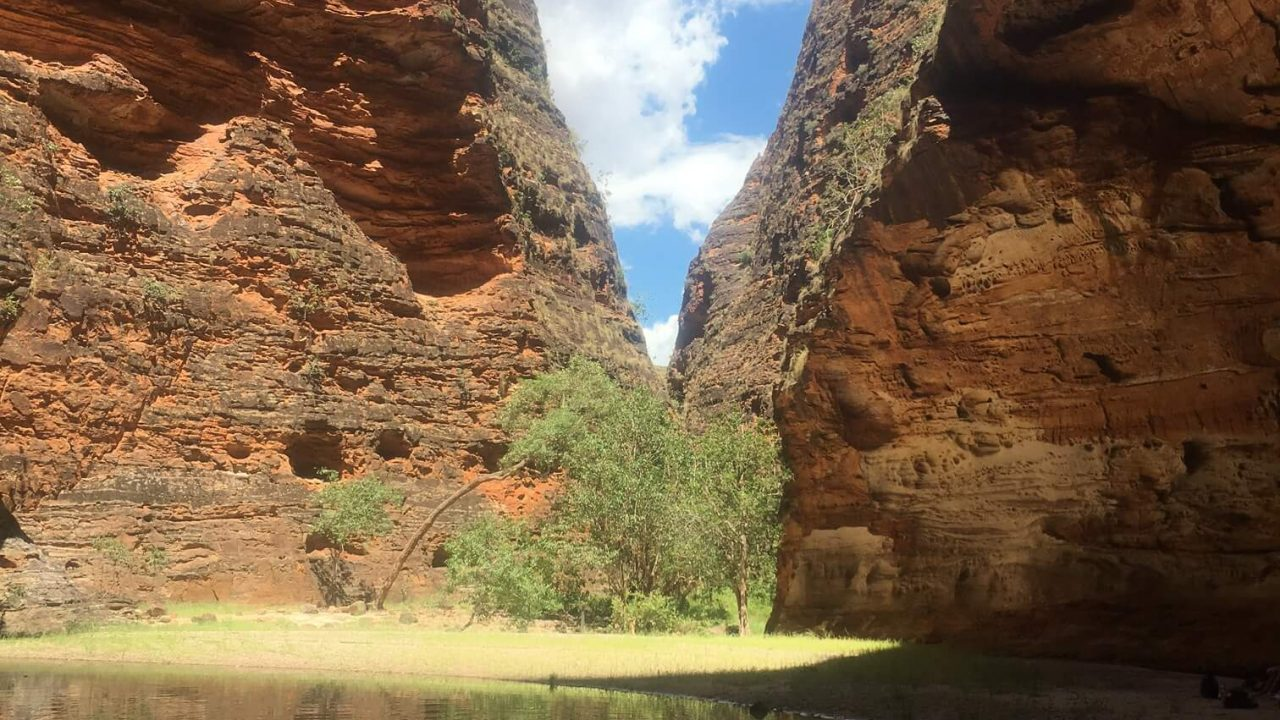 Waterfall season in the Bungle Bungle Cathedral Gorge