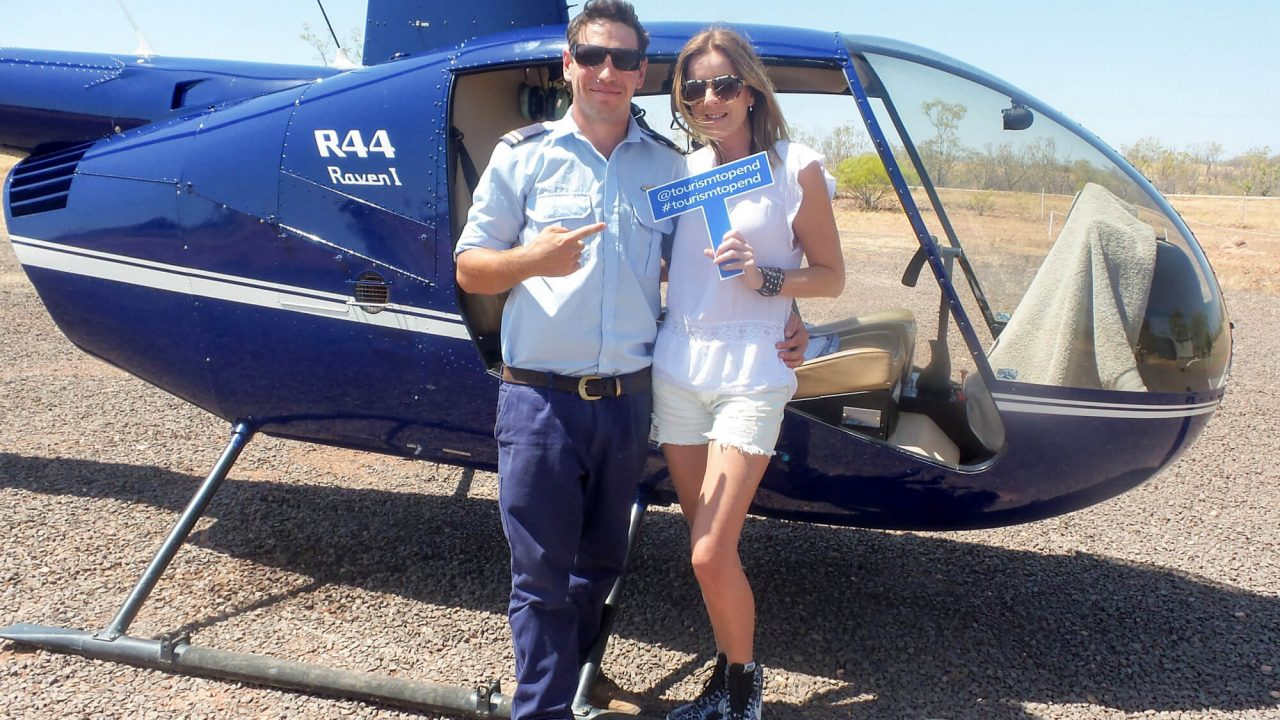 Lisa Messenger with HeliSpirit pilot Steve at Katherine Gorge
