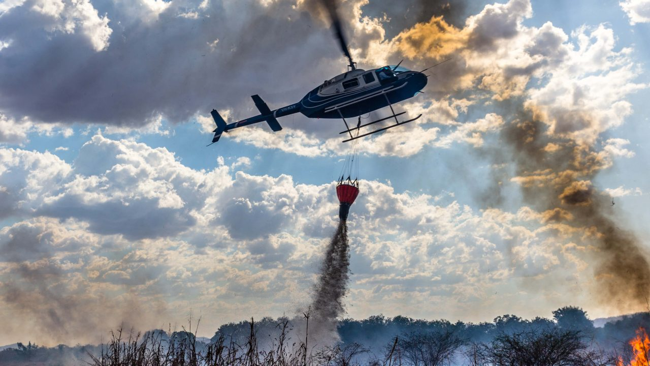 Extinguishing the flames near Kununurra