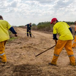 The fire fighting ground team extinguishing embers.
