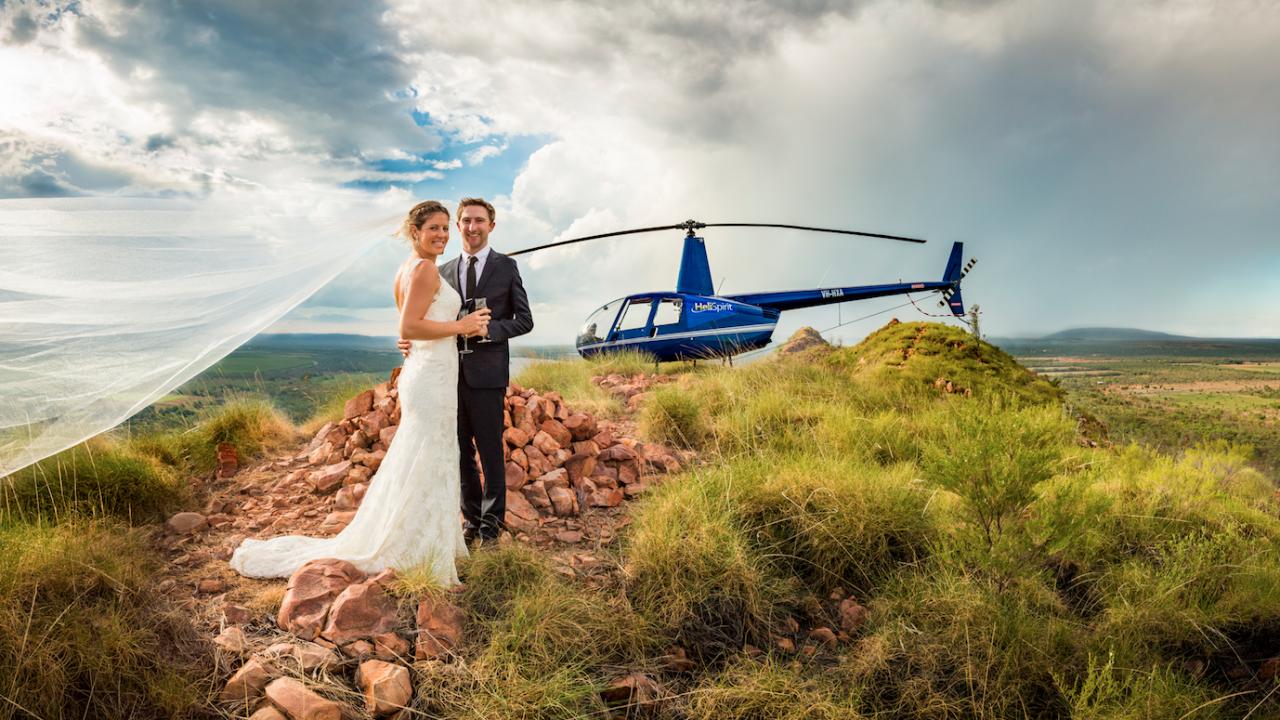 Wedding Photos Helicopter Safari